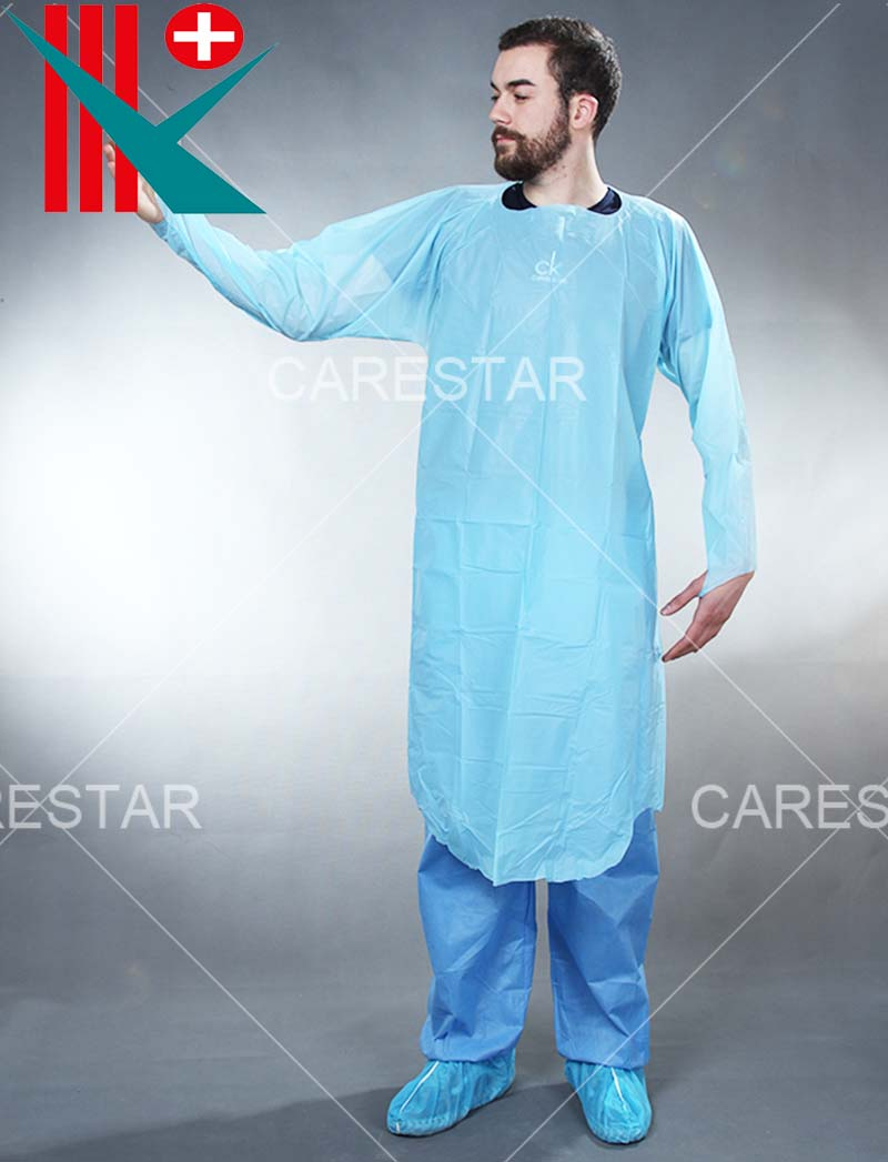 Disposable CPE Isolation Gown with Long Sleeves and Thumb Loops