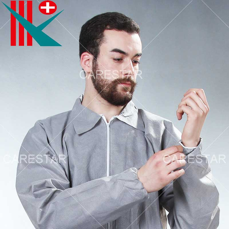 Grey Disposable SMS Coverall with Collar
