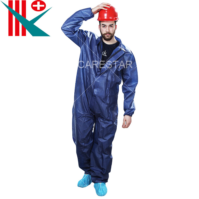 Disposable CPE Coated PP Coverall, with Collar