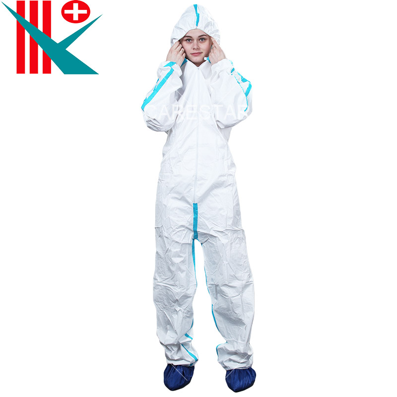 Type 3, 4 Disposable Coverall with Hood, White with Blue Tape