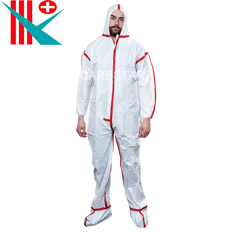 Type 3, 4 Disposable Coverall with Hood, White with Red Tape