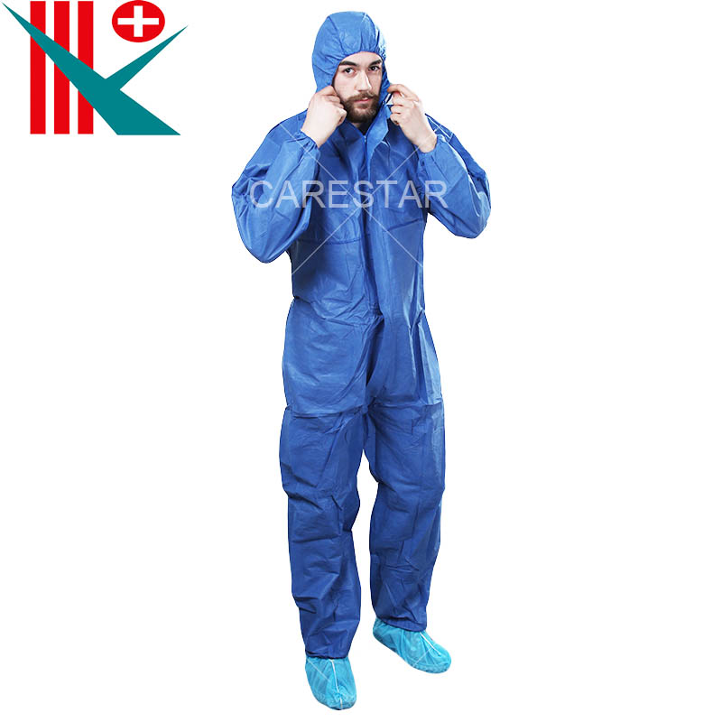 Type 5, 6 Disposable Coverall with Hood, Dark Blue