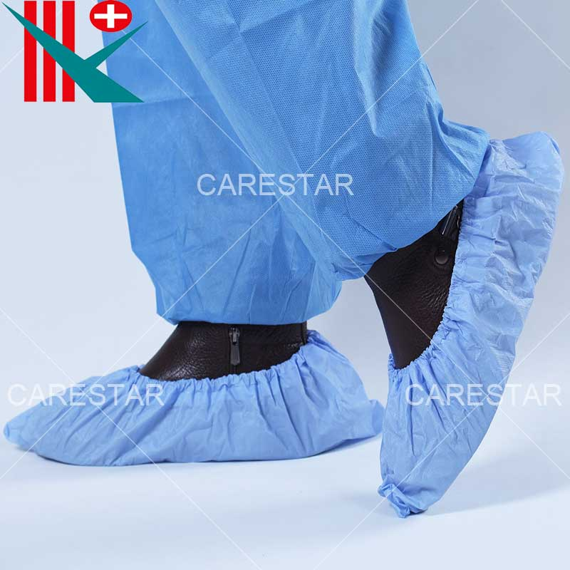 Disposable CPE Coated PP Shoe Cover, Made by Hand