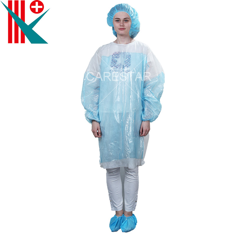 Disposable PP Isolation Gown with PE Film Sewn