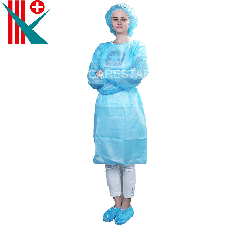 Disposable PE Coated PP Isolation Gown, with Knitted Cuff