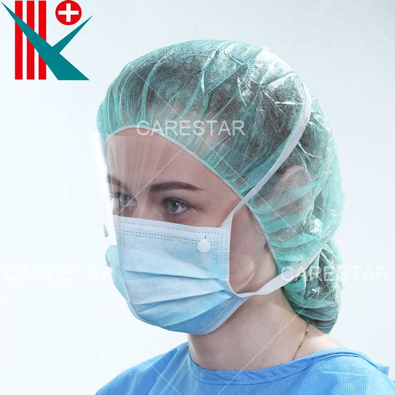 Disposable PP 4 Ply Face Mask with Anti-Fog Shield, Tie-on