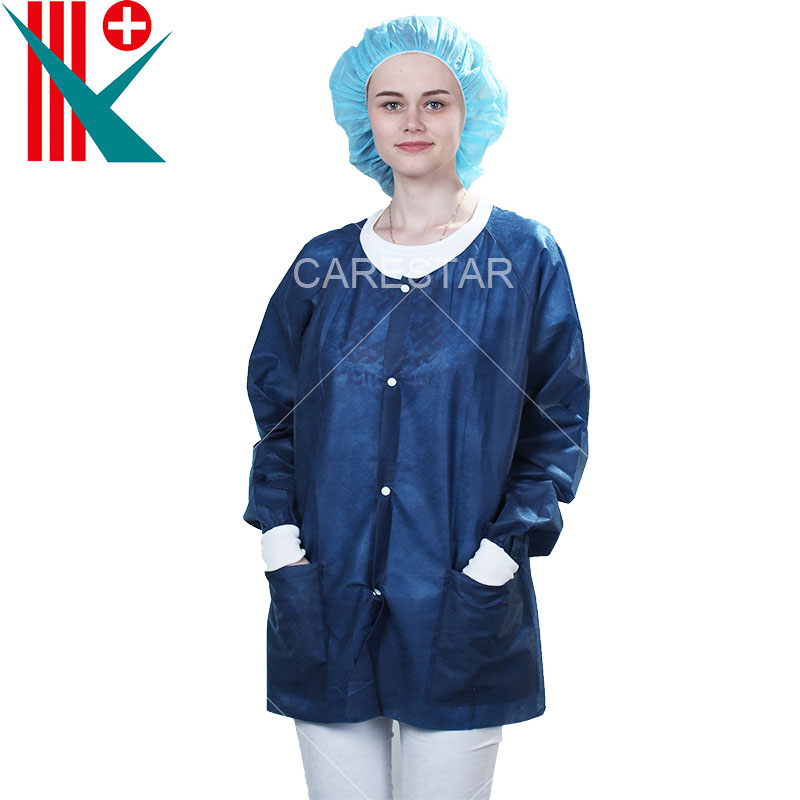 Disposable PP Lab Coat with Press Buttons, with Knitted Collar and Cuff