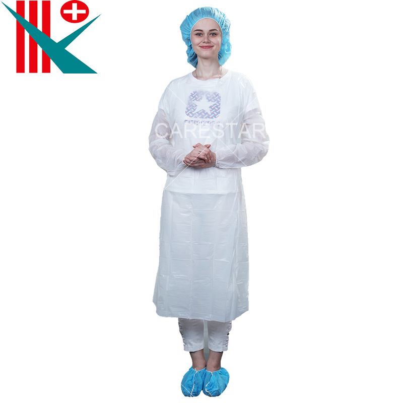 Disposable CPE Apron / Gown with Long Sleeves and Elastic Cuff