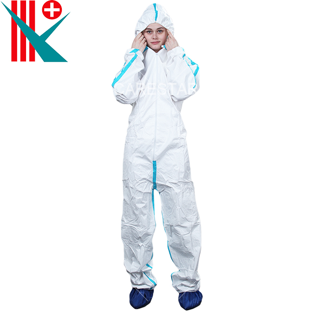 Type 4 Disposable Coverall with Hood, White with Red/Blue Tape